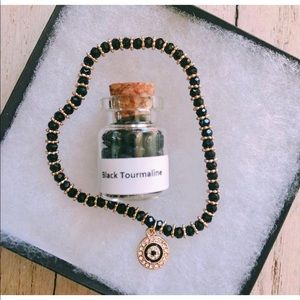 Jewelry - Black Tourmaline evil eye crystal bracelet 🔥